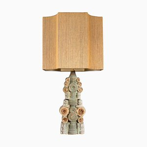 Large Ceramic Table Lamp with Silk Lampshade by Bernard Rooke, 1960s
