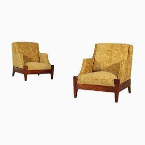 Vintage Italian Wood, Brass, and Velvet Lounge Chairs, Set of 2