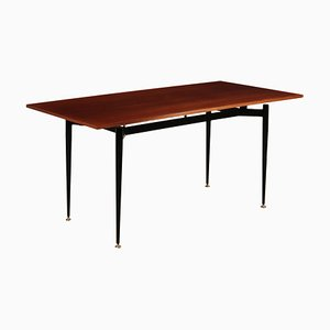 Mid-Century Italian Mahogany Veneer and Enameled Metal Dining Table, 1960s