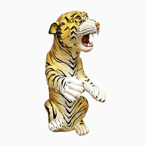 Große Italienische Vintage Keramik Tiger Statue, 1960er