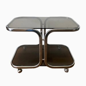 Coffee Table with Heavy Dark Tinted Glass Plates on Rolls, 1970s