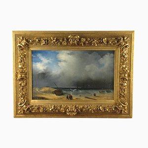 Mid-19th Century Beach Scene Netherlands Painting