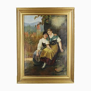 Antique 2 Girls in Front of Idyllic Village View Painting by Karl Raupp
