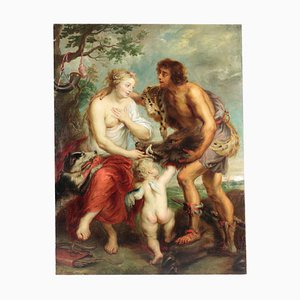 Pintura Meleager y Atalante antigua