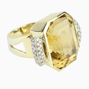 Ring aus Gelbem Gold & Citrin Ring 1930er
