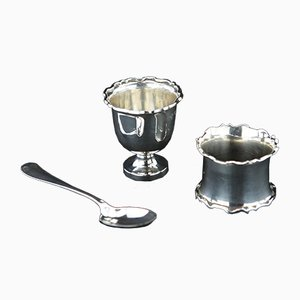 925 Sterling Silver Egg Cups, Napkin Ring & Spoon Set, 1920s