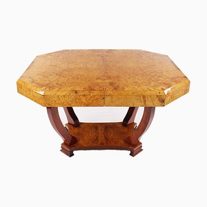Amboina Root Wood Veneered Dining Table, 1930s