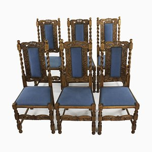Antike Eichenholz Stühle, 6er Set