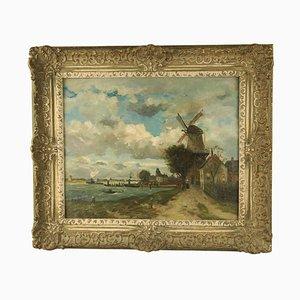 Niederländische Küste mit Windmühlen Gemälde von Jan Joseph Stapp