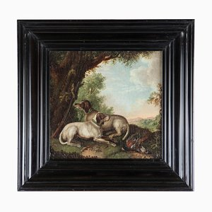 Antique Hunting Dogs Oil Painting
