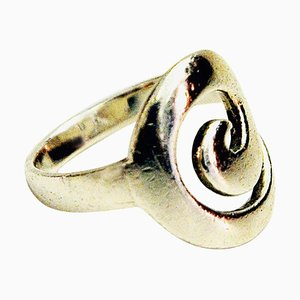 Vintage Scandinavian Silver Ring with Wave Curl, 1960s