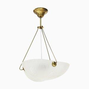 Lámpara de araña escandinava Art Déco de vidrio esmerilado y latón, años 30