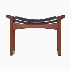 Teak and Leather China Stool Aksel Bender Madsen & Ejner Larsen for Ludvig Pontoppidan, 1951