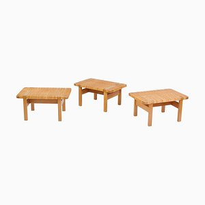 Oak, Cane & Rattan Benches or Side Tables by Børge Mogensen for Fredericia, 1967, Set of 3