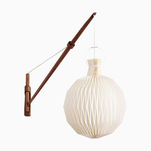 Danish Modern Oak Wall Light with Le Klint Shade from Louis Poulsen, 1950s
