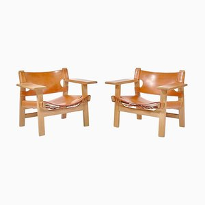 Danish Modern Lounge Spanish Chairs in Oak and Saddle Leather by Børge Mogensen, 1979, Set of 2