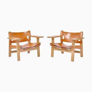 Danish Modern Lounge Stühle aus Eiche und Sattelleder von Børge Mogensen, 1979, 2er Set