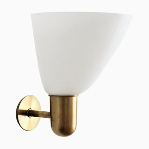 Brass and Opaline Glass Wall Lamp by Kaj Gottlob for Fog & Morup, Denmark, 1953