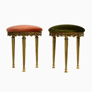 Italian Brass and Velour Stools from Orsenigo, 1970s, Set of 2