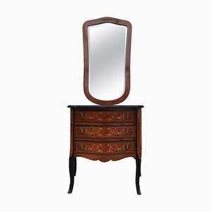 Louis XVI Style Kingwood and Marquetry Commode and Mirror Set, 1950s