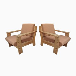Vintage Pinewood and Fabric Lounge Chairs, 1980s, Set of 2