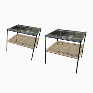 Metal Glass and Rattan Coffee Tables, 1960s, Set of 2