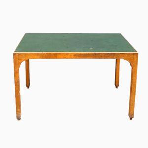 Table Vintage en Bois avec Dessus en Linoléum Vert