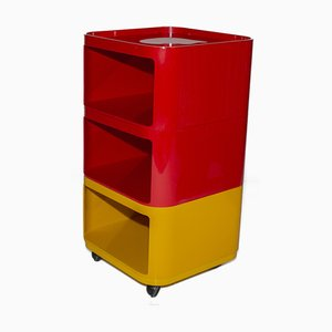 Red and Yellow Componibili by Anna Castelli Ferrieri for Kartell, 1970s
