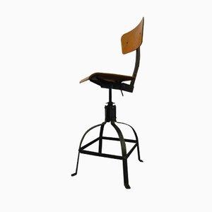 Industrieller höhenverstellbarer Vintage Stuhl von Bienaise