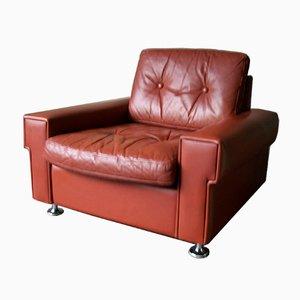 Vintage Danish Coupé Leather Lounge Chair, 1970s