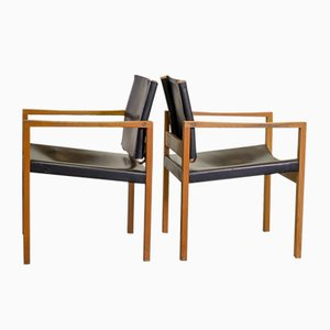 Brutalist Scandinavian Solid Oak and Black Leather Dining Chairs, 1960s, Set of 2