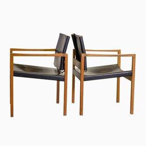 Chaises de Salon Brutalistes Scandinaves en Chêne Massif et Cuir Noir, 1960s, Set de 2