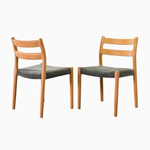 Danish Solid Beech and Gray Velvet Model 84 Dining Chairs by Niels Otto Møller for J.L. Møllers, 1960s, Set of 4