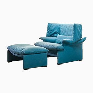 Italian Blue Fabric Portovenere Lounge Chairs by Vico Magistretti for Cassina, 1980s, Set of 2