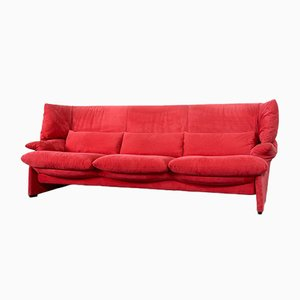Italian Cherrywood and Red Velvet 3-Seater Portovenere Sofa by Vico Magistretti for Cassina, 1980s