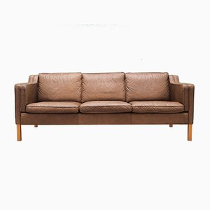 Mid-Century Danish Brown Leather Sofa by Mogens Koch, 1960s