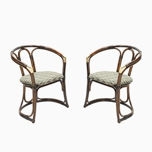 Brass Bamboo Lounge Chairs, 1960s, Set of 2