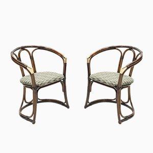 Messing Bambus Sessel, 1960er, 2er Set