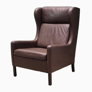 Vintage Danish Brown Leather Armchair, 1970s