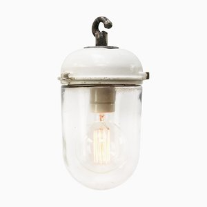 Vintage Clear Glass Porcelain Top Pendant Lamp