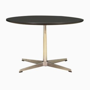 Table Basse Ronde en Aluminium Plaqué Chrome par Arne Jacobsen pour Fritz Hansen, Danemark, 1970s