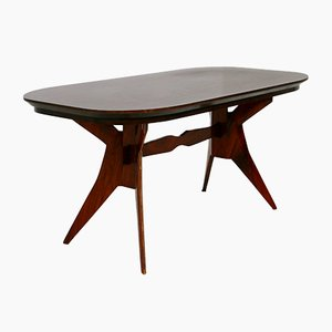 Mid-Century Italian Geometric Wooden Dining Table by Scuola Torinese, 1950s