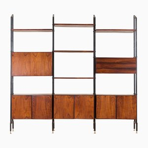 Italian Rosewood Modular Wall Unit in the Style of Vittorio Dassi, 1960s