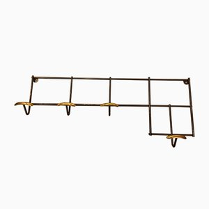 Vintage Black and Gold Wall Coat Rack, 1950s