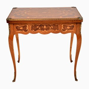 French Inlaid Rosewood Marquetry Card Table, 1950s