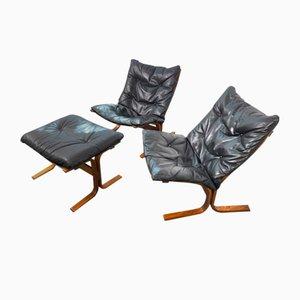 Poltrone e ottomana Seat Siesta in pelle di Ingmar Relling per Westnofa, Norvegia, anni '60, set di 3