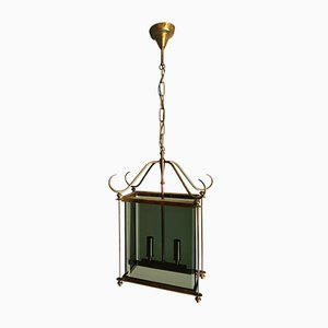 Mid-Century Brass and Smoked Glass Chandelier in the Style of Peter Church, 1960s