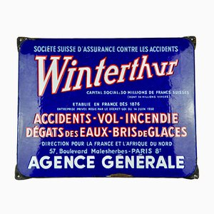 Enameled Metal Winterthur Sign, 1950s