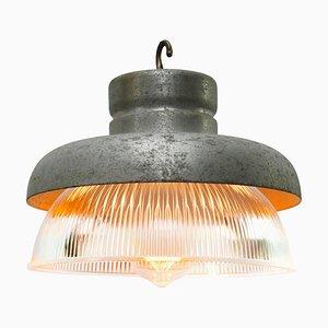 Lampe à Suspension Industrielle Vintage en Métal Gris et Verre à Rayures Clairs de Holophane