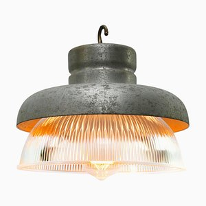 Vintage Industrial Gray Metal and Clear Striped Glass Pendant Lamp from Holophane